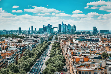 Fotomurales - PARIS, FRANCE - JULY 06, 2016 : Beautiful panoramic view of Paris from the roof of the Triumphal Arch. View of the district of La Defense.