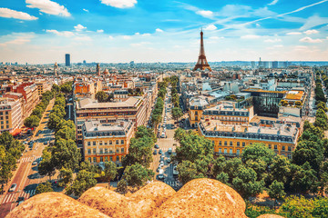 Fototapete - Beautiful panoramic view of Paris from the roof of the Triumphal Arch. View of the Eiffel Tower.
