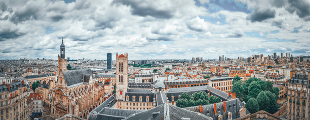 Wall Mural - Beautiful panoramic view of Paris from the roof of the Pantheon. View on Church of Saint-Etienne-du-Mont.
