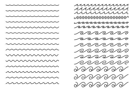 Blue water line waves ornament pattern. Radio music sound abstract motion wave. Vector illustration