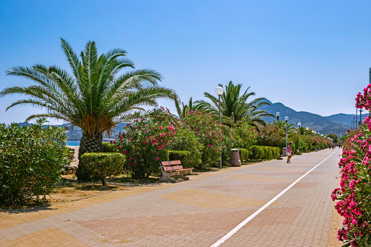 A promenade street in Argeles sur Mer, Languedoc-Roussillon, France