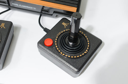 london, england, 05/05/2018 A Retro vintage atari flashback 3 arcade console re issue. A modern plug and play console with a retro 1980s style. classic vintage arcade play.
