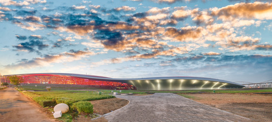 Panoramic view of Abu Dhabi Sports Racing Stadium at sunset, UAE