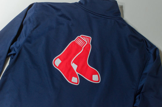 london, england, 05/05/2018 A retro rare Boston Red Sox Majestic Zip Up Embroidered Sweatshirt Jacket Men's. baseball sports memorabilia apparel from the united states of america.