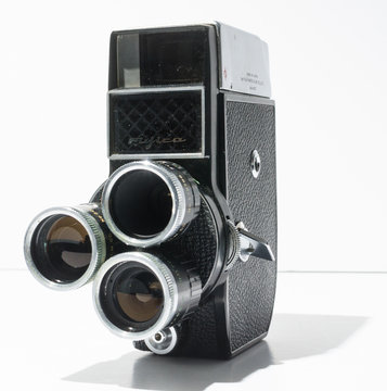 london, england, 05/05/2019 A rare Vintage Fujica 8 T3 8mm Cine Camera. 8mm movie analogue film triple lens anamorphic cinematographic camera. Arty and hipster photographic.