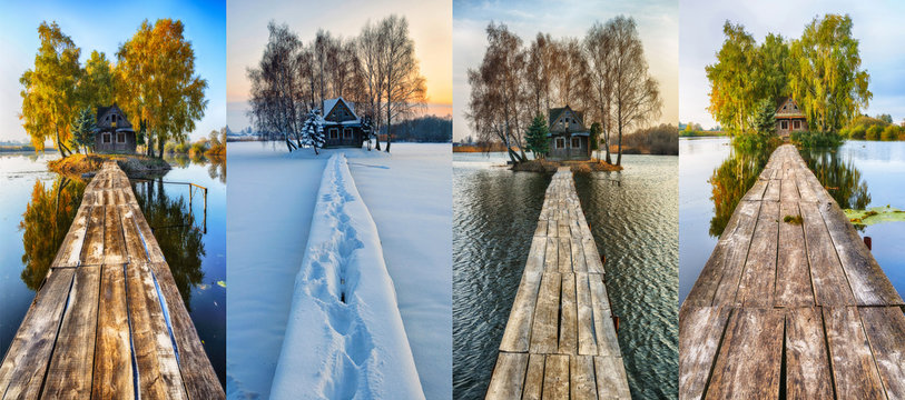 four seasons of a fabulous house. picturesque hut on a small island