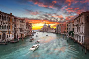 Beautiful sunset over the Venice city with Santa Maria della Salute Basilica, Italy