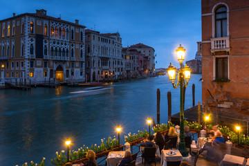 Venice city at dusk with Santa Maria della Salute Basilica, Italy