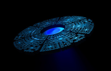 Alien Space Station isolated On Black Background