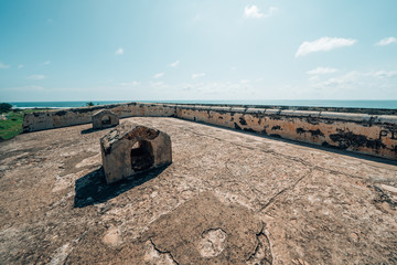 Rampart walls of Galle Fort, a dutch fort UNESCO World Heritage Site in Sri Lanka