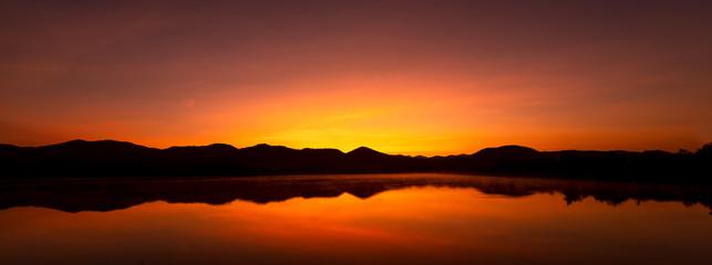 Foto auf AluDibond Braun Beautiful sunrise afterglow over the mountain.Beautiful sky on twilight time.