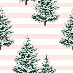 Christmas trees floral seamless pattern striped background. Winter forest wallpaper.