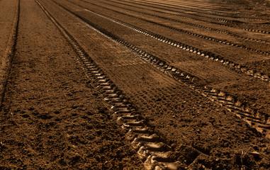 Spuren in dunklem Ackerboden, vorbereitet für den Gemüseanbau im Sonnen Gegenlicht