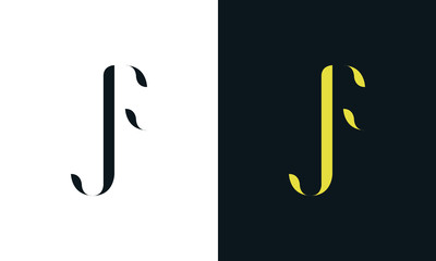 Abstract line art letter JF logo. This logo icon incorporate with two letter in the creative way. It will be suitable for Restaurant, Royalty, Boutique, Hotel, Heraldic, Jewelry.