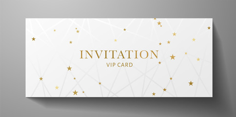 Luxurious VIP Invitation template with  lines, golden stars on white background and gold text. Premium class design for Gift certificate, Voucher, Gift card