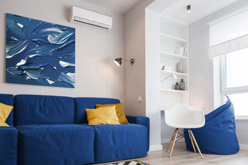 Interior of the room in light colors. classic blue, pantone color of the year 2020