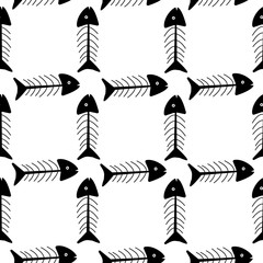 Seamless pattern of fish skeletons in doodle style, black and white colors. Simple seamless pattern for background, wrapping paper, design for dishes and clothes. Vector illustration