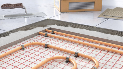Process of laying tiles on floor with underfloor heating, 3d illustration