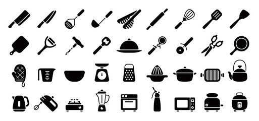 Kitchen Utensils and Tool Icon Set (Flat Silhouette Version)