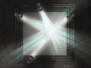 concert advertising board with lights 3d illustration