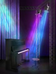 concert scene with lights 3d illustration