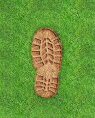 imprint footprint of shoes or boots on the grass. 3 illustration