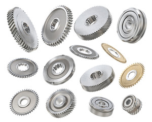 Different gears isolated on a white background. 3d illustration