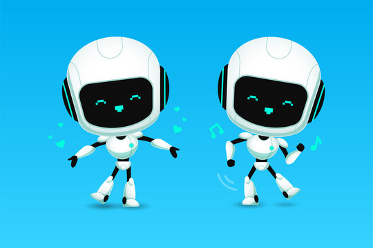 Set of cute robot ai character love and dance action