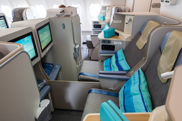 Business class view of the Airbus A3330neo passenger plane from Air Mauritius in Paris on June 20, 2019