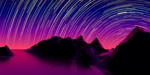 Mountain landscape with 80s styled synth wave polygonal grid and star trail over the purple horizon
