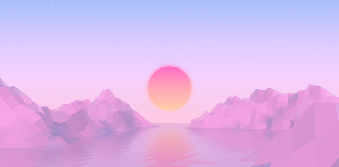 Wall Murals Purple Abstract vaporwave landscape with sun rising over pink mountains and sea on calm pink and blue background