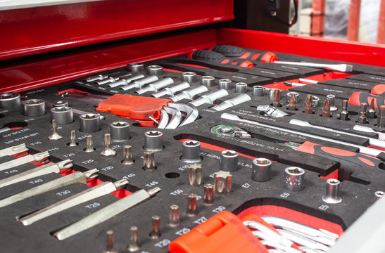 The set of hand tools for to repair. Many wrench and tools close-up in box for to repair the car or replace automotive spare parts, auto parts