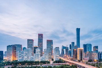 Poster de jardin Pekin Dusk view of CBD skyline in Beijing, China