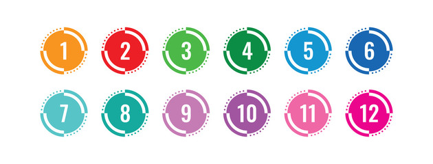 colorful 1-12 numbers. numbers in circle. colored buttons and numbers