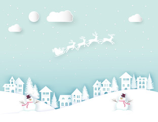 In de dag Lichtblauw Winter landscape with houses and trees.Santa Claus on the sky in winter season.Merry Christmas and Happy New Year. paper art design.Vector EPS 10.