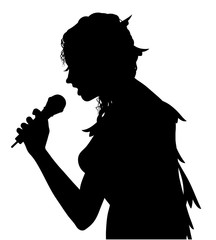 Female singer silhouette isolated on white background