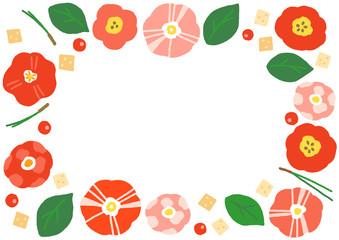 椿の花 フレーム 横