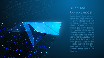 AIRPLANE - Low Poly Wireframe Style Design. Blue Paper Airplane - Abstract Neon Geometric Background. Wireframe Light Connection Structure with Triangles Lines Dots, Stars. Digital Vector illustration