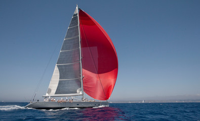 Sailing at Mediterranean Sea. Super sailing yacht. The Superyacht Cup Palma