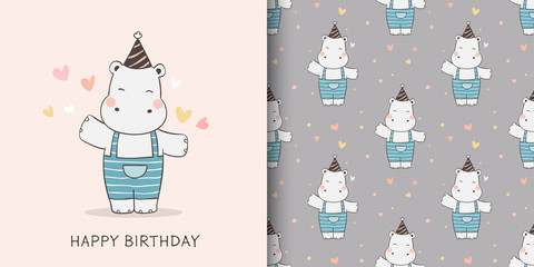 Draw greeting card and print pattern of hippo for fabric textiles kids.