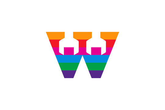 letter W logo design template. colorful shape. combination automotive repair tool and letter or initial logo. two wrench tool.