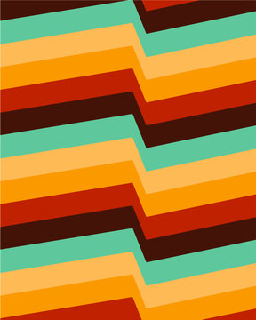 Retro color palette background geometric lines seventies inspired wallpaper