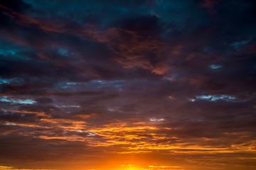 Foto auf Acrylglas Schwarz Contract dramatic sky with dark clouds during sunrise
