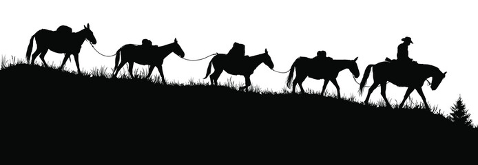 Vector silouettes of a cowboy riding a horse and leading pack mules.