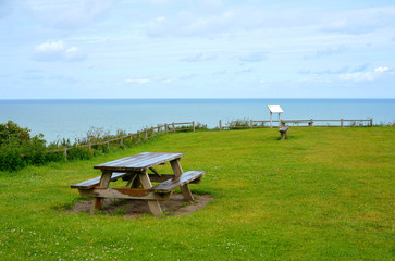 Resting place with ocean view at the french atlantic coast in the normandy region