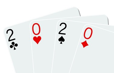2020 playing cards on a white background