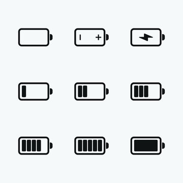 Battery power, charge icon set. power symbol vector illustration