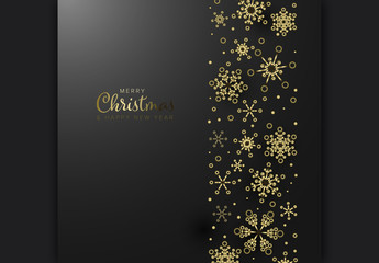 Merry Christmas Card Layout with Golden Snow Flakes