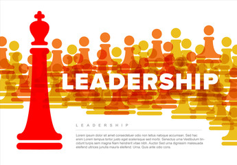 Leadership Concept Infographic with Chess Illustrations