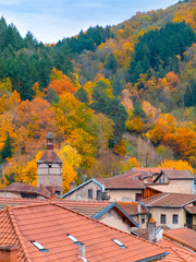 Small medieval town hidden in a wooded mountains. Auvergne, France.